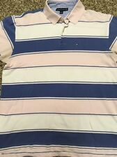 Tommy Hilfiger Pink, Light Blue And White Striped Mens Polo Shirt, Size XL