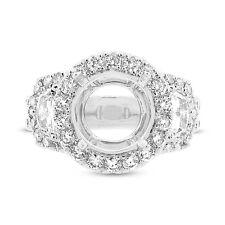10mm Round Diamond Semi Mount 3 Stone 18K White Gold Engagement Ring Setting