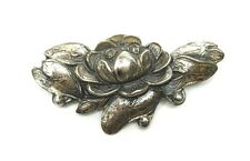 ANTIQUE STERLING SILVER LOTUS LILY PAD Brooch Pin 7.3 gms