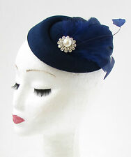 Navy Blue Silver Feather Pillbox Hat Fascinator Races Vintage Hair 1940s 30s 734