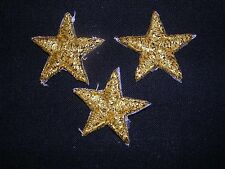 "VENISE LACE APPLIQUE STARS GOLD METALIC IRON ON MOTIFS BABY HAT G10 3/4""  5-pcs"