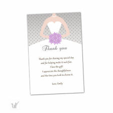 30 Bridal Shower Thank You Cards Lavender Silver Grey Dress Flowers Personalized