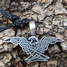Silver Hawk Eagle Celtic Raven Biker Pewter Pendant with Cotton Necklace # 209
