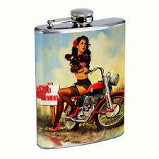 Flask 8oz Stainless Steel Classic Vintage Model Pin Up Girl D 181 Italian Sexy