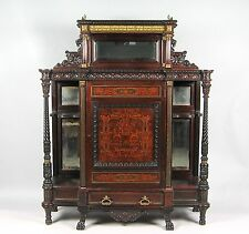 American Renaissance Revival Carved Inlaid Bronze Mount Rosewood Etagere Cabinet