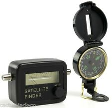 SAT FINDER KIT SATELLITE SIGNAL METER COMPASS LEAD CASE
