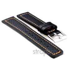 StrapsCo Thick Textured Bull Leather Flat Style Watch Strap mens or womens Band
