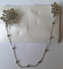 Diamante double Brooch With Chain d1