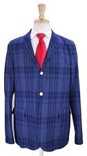 * J PRESS * York Street Aqua Blue/Navy Tartan Plaid Cotton 2-Btn Ivy Suit 44R