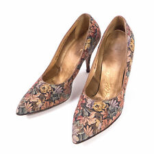 Vintage 1940's Palizzio Multi-Color Floral Stietto Cocktail Pumps Heels Size 6B