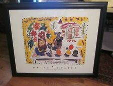 "Large Wayne Ensrud Signed & Framed ""Chateau Cheval Blanc"" Lithograph Picture"