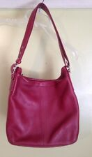 Coach Red Leather Hobo Shoulder Bag Purse Adjustable Straps