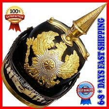 Leather German Helmet WW1 Pickelhaube Prussian Helmet Cruciform Base Conic Spike