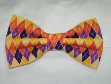 (1) PRE-TIED BOW TIE - HARVEST BOUNTY ARGYLE - ORANGE, YELLOW & PURPLE