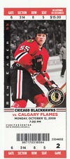 2009 CHICAGO BLACKHAWKS VS FLAMES FULL TICKET STUB 10/12/09 BIGGEST COMEBACK WIN