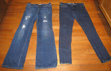 2 Womens Blue Denim Jeans Size 9R 29 x 31 Hollister & Bullhead Black Skinny