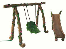 Fairy and Gnome Miniature Swing and Slide Set - A Fairy Garden Accessory