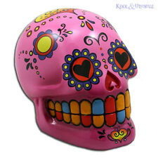 Fabulous Mexican Day of the Dead PINK SUGAR SKULL Money Box Bank