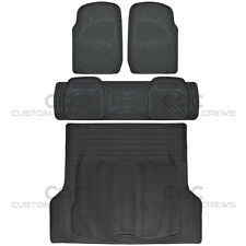 Black Rubber Floor Mats for Car SUV w/ Cargo Mat 5 Piece Full Set Max Duty