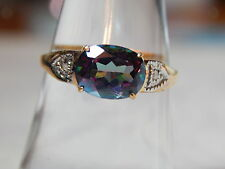10K YELLOW GOLD MYSTIC TOPAZ & DIAMOND ACCENT RING ~ SIZE 7