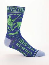 Blue Q Men's Crew Socks, Hark! To the Microbrewery. At Once! - Blue - New (OSFA)