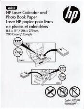 HP 8.5 x 11 Laser Calendar & Photo Book Paper 200 Sheets CG933A no reserve