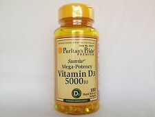 100 Softgels Puritan's Pride Mega-Potency Vitamin D3 5000 IU Made in USA