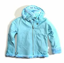 men's sky blue genuine leather bomber jacket detachable hood size 3XL (50R)
