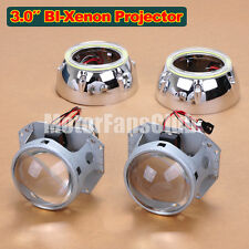 "3.0"" Latest LED Angel Eye HID BI-Xénon Projecteur Lens Phare Kit Halo 124Y"