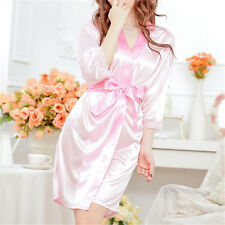 Nightwear Kimono Sexy Nightwear Silk Satin Lace Dressing Gown Bath Robe HUUK