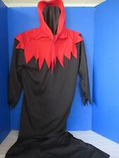 Black w/ Red HOODED GRIM REAPER~Mesh Face~1 Piece Halloween Costume~Adult Small