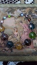 Vintage signed Chomel Necklace with Murano Glass and crystals-Never used