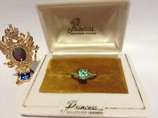 1cts PRINCESS COLOMBIAN EMERALD AND DIAMOND RING ALL NATURAL STERLING SILVER