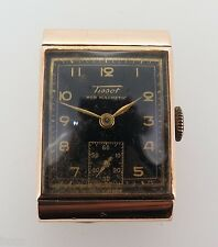 .VINTAGE 1940s 9K SOLID ROSE GOLD TISSOT HOODED WRIST WATCH
