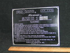 Rare PUROLATOR Air Fiilter Spec Plate AF-910 AA-5, MICRONIC DRY TYPE - Rahway NJ