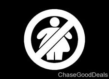 Two (2) WHITE Caution No Fat Chicks Car Wall Vinyl Sticker Decal Window