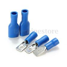 100PCS ASSORTED BLUE MALE SPADE & FEMALE SPADE CRIMP TERMINALS WIRING CONNECTORS