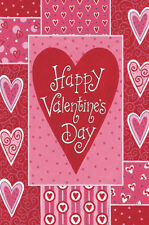 "Valentine's Patchwork House Flag by Custom Decor Valentine's Day Large 28"" x 40"""