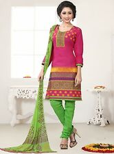 Radiant Cotton Embroidered Dress Material With Chiffon Dupatta D.NO N1020