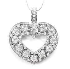 NEU 45cm+6,5cm HALSKETTE Herz SWAROVSKI STEINE klar/kristallklar SCHLANGENKETTE