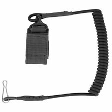 Bulldog Secure Coiled Nylon Police Security Wallet Keys Pistol Lanyard Black NEW