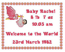 "Welcome Baby Girl Counted Cross Stitch Kit Sampler 10"" x 8"" New Born"