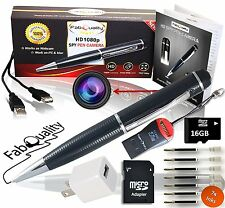 FabQuality Special Offer 1 DAY Only! Hidden Camera Spy Pen 720p BUNDLE 16GB SD,