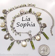 """Signed LIA SOPHIA Necklace SEA GRASS, Moss Green Crystals/Peacock Pearls/MOP 20"""""""