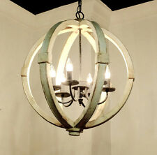 ANTHROPOLOGIE STYLE RUSTIC FRENCH FARMHOUSE WOOD ORB SPHERE CHANDELIER