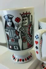 2 Rare Vtg Royal Crown Coffee Mugs Kings & Queen by Ellena 2663 signed numbered