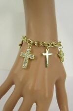 New Women Gold Metal Crosses Charms Bracelet Fashion Jewelry Silver Rhinestones