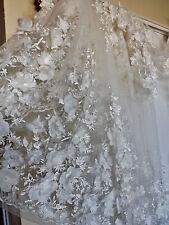 Bridal Wedding Of White  Embroidered 3 D Embossed Flower Net Lace Fabric BTY