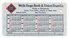 1926 Celluloid Wells Fargo Bank Pocket Calendar SF Map