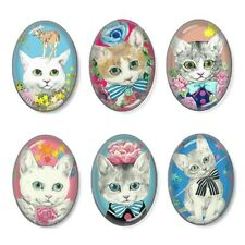 6pcs Glass Fancy Cats Oval Cameo Cabochon 18x25mm Group A